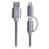 Cabo Híbrido Micro USB e Lightning 1,5m Cinza WI342 1 UN Multilaser
