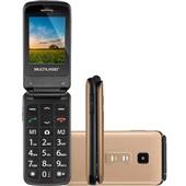 Celular Flip Vita Dual Chip MP3 Dourado P9043 1 UN Multilaser