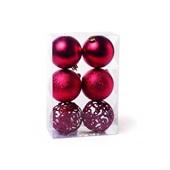 Conjunto de Bolas para Decoração Texturizadas Lisas e Vazadas 8cm Vermelho 1591311 JG 6 UN Cromus