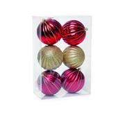Conjunto de Bolas de Decoração Vermelho e Ouro 8cm 1712658 JG 6 UN Cromus
