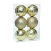 Conjunto de Bolas Texturizadas Ouro 8cm 1712641 JG 6 UN Cromus