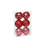 Conjunto de Bolas Texturizadas Vermelho 8cm 1712642 JG 6 UN Cromus