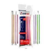 Canudo Mexedor Descartável Colorido PT 100 UN Strawplast
