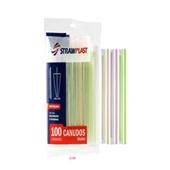 Canudo Descartável Colorido PT 100 UN Strawplast
