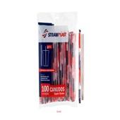 Canudo Super Shake Descartável Cristal e Vermelho PT 100 UN Strawplast