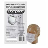 Máscara Descartável Tripla com Elástico PT 50 UN Bompack