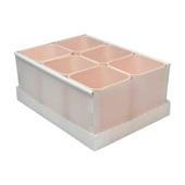 Caixa Organizadora 6 Divisórias Rosa 24,5x17,5x10,2cm 1 UN Dello