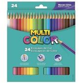Lápis de Cor Sextavado 24 Cores Multicolor
