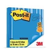 Bloco Adesivo 90 Folhas 76x76mm Azul Refil 1 UN Post-it