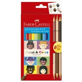 Lápis de Cor Caras e Cores 12 Cores + 6 Tons de Pele Faber Castell