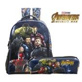 Kit 1 Mochila e 1 Estojo Simples Avengers Fiery Xeryus