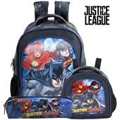 Kit 1 Mochila 1 Lancheira e 1 Estojo Simples Liga da Justiça Heroes Xeryus
