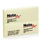 Bloco Adesivo 100 Folhas Cada 38x50mm Amarelo PT 4 UN Notefix