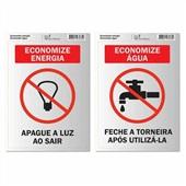 Placa de Sinalização Economize Energia e Água 2 UN Pimaco
