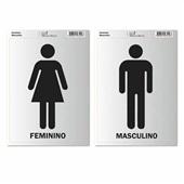 Placa de Sinalização Sanitário Feminino e Masculino Pimaco