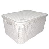 Cesto Organizador com Tampa Rattan Grande 16L Branco 28x38,5x19cm 1 UN Nitron