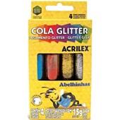 Cola Colorida com Gliter 4 Cores 15g Cada 4 UN Acrilex