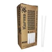 Canudo de Papel Biodegradável para Água e Suco 19,5cm Branco CX 100 UN Kurma