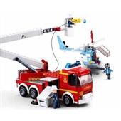 Blocos Caminhão de Bombeiro com Plataforma + Helicóptero 394 Peças BR824 1 UN Multikids