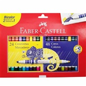 Caneta Hidrográfica Colorir Bicolor 48 Cores Faber Castell