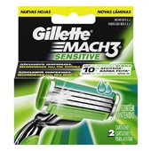 Lâminas de Barbear Mach3 Sensitive 2 UN Gillette