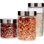 Conjunto de Potes de Vidro Tampa Inox 3 UN Euro