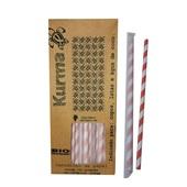 Canudo de Papel Biodegradável para Milk Shake 21cm Colorido CX 100 UN Kurma