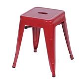 Banqueta Retro Baixa em Aço Vermelho 1 UN OR Design
