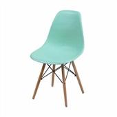 Cadeira Eames com Base de Madeira Verde Tiffany 1 UN OR Design