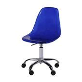 Cadeira Eames com Base Cromada Giratória Azul 1 UN OR Design