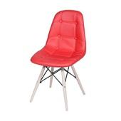 Cadeira Eames Eiffel Botone Base de Madeira Vermelho 1 UN OR Design