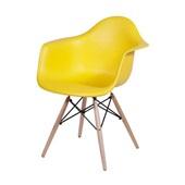 Poltrona Eames Base Madeira Amarelo 1 UN OR Design