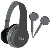Combo Headphone e Fone de Ouvido Twin Cinza HF100 1 UN OEX