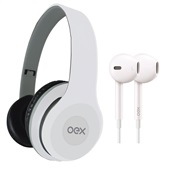 Combo Headphone e Fone de Ouvido Twin Branco HF100 1 UN OEX