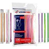 Canudo de Plástico Mexedor para Bebida Densa 17,5cm x 6mm Colorido PT 100 UN Strawplast