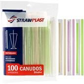 Canudo de Plástico para Milk Shake 21cm x 8mm Colorido PT 100 UN Strawplast