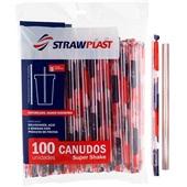 Canudo de Plástico para Super Shake 21cm x 10mm Transparente PT 100 UN Strawplast
