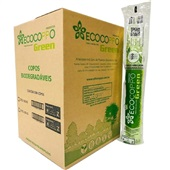 Copo Plástico Biodegradável 180ml Transparente CX 2500 UN Ecocoppo Green