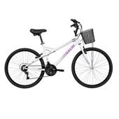 Bicicleta Ventura Aço e Alumínio Aro 26 Branco e Roxo Caloi