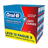 Creme Dental Anti Cáries 1-2-3 Menta Suave 70g Cada PT 12 UN Oral-B