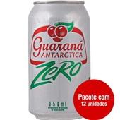 Refrigerante Guaraná Antarctica Zero Lata 350ml 12 UN