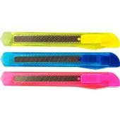 Estilete Estreito Plástico com Lâmina de 9mm Sortidos 1 UN Grampline