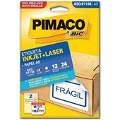 Etiqueta Adesiva InkJet e Laser A5 98x138,5mm Branco A5Q-97138 CX 24 UN Pimaco