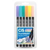 Marcador Artístico Dual Brush 6 Cores Pastel Cis