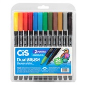 Marcador Artístico Dual Brush 24 Cores Cis