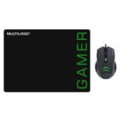 Kit Mouse Pad e Mouse Gamer 3200DPI 6 Botões Preto e Verde MO273 Multilaser