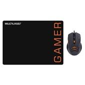 Kit Mouse Pad e Mouse Gamer 3200DPI 6 Botões Preto e Laranja MO274 Multilaser