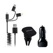 Kit Carregador Automotivo 3 em 1 Type-C Apple Micro USB Suporte Magnético Preto CB134 Multilaser