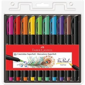 Caneta Hidrográfica SuperSoft Brush 10 Cores Faber Castell
