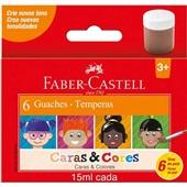 Guache Caras e Cores Tons de Pele 15ml 6 Cores Faber Castell